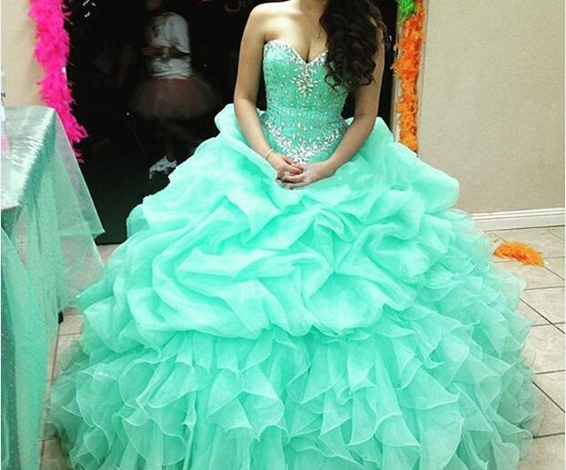 f98b1d570 2019 Vestidos De 15 años De cristal dulce 16 vestido menta verde azul De la  princesa Vestidos Plus tamaño volantes Organza Quinceanera vestido en  Vestidos ...