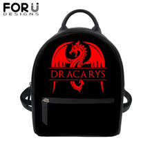 FORUDESIGNS Game of Thrones/Dracarys PU Leather Backpack for Women Lady Black School Bag Girls Travel Waterproof Daypack
