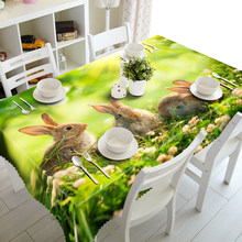 Customized Round Square Cute Rabbit Animals print Luxury Decorative 3D Table Cabinet Dinner Table Cloth Cover Polyester fabric(China)