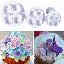 Juego de 3 unidades de Fondant de hortensia para decoración de tartas, cortador de émbolo de SugarCraft, molde de flor, herramientas de tarta casera, envío rápido