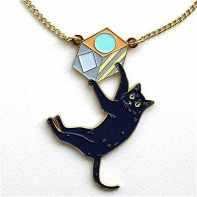 UK Style Cut Enamel Black Cat Pendant Necklace for Womens Bijoux Accessories Rocking Cat Fashion Cute Animal Black Cat Pendant