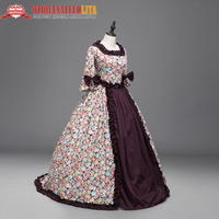 Renaissance Colonial Priness Dress Floral Ball Gown with Long Train Reenactment Theater Dresses