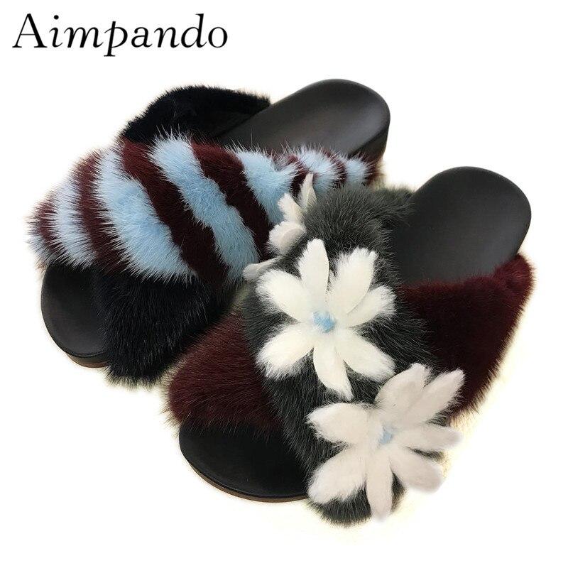 Luxury Mink Hair Slippers Women Cross Belt Striped Blue Fur Slides Applique White Flower Holiday Shoes Woman