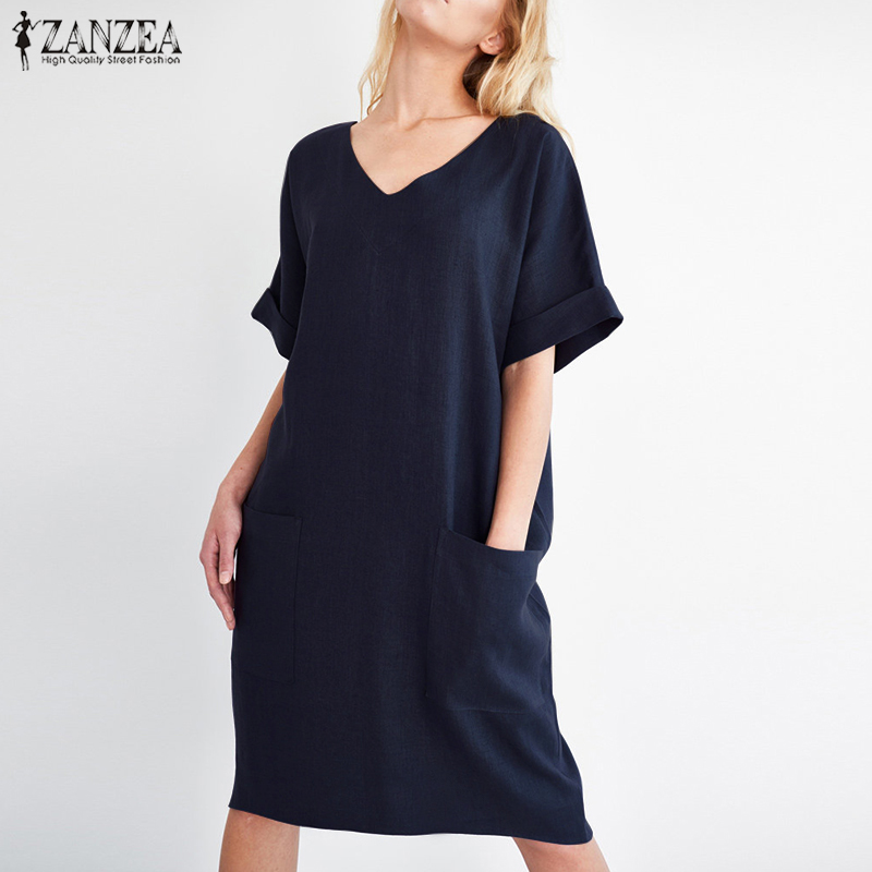2018 ZANZEA Summer Women V Neck Short Sleeve Pockets Loose Solid Shirt Vestido Casual Elegant Cotton Linen Work Dress Plus Size 3