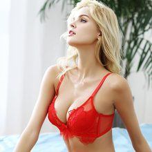 shaonvmeiwu Winter super lace embroidered bra women adjust red benmingnian underwear thin