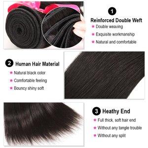 Image 4 - Ali peruka perłowa proste włosy ludzkie 3 zestawy z 5x5 zamknięcia brazylijski włosy wyplata 3 wiązki Remy do przedłużania włosów Ali peruka perłowa