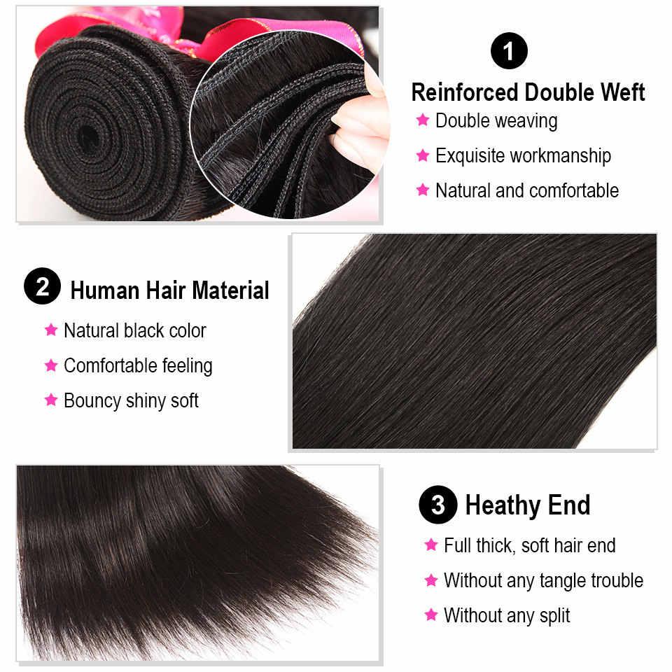 Alipearl cabelo humano em linha reta 3 pacotes com 5x5 fechamento tecer cabelo brasileiro 3 pacotes remy extensão do cabelo ali pérola cabelo