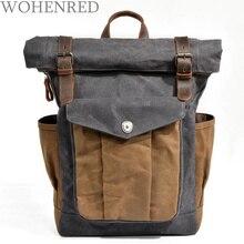 Waterproof  Backpack Leather Canvas Men Backpack School Bag Military Backpack Fashion Rucksack Male Knapsack Bagpack Mochila стоимость