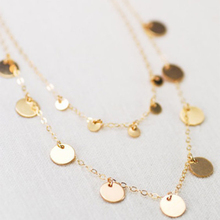 Fashion Double Layer Chain Necklace Women Bohemian Round Sequins Choker Necklace Pendant on Neck Jewelry lace sequins choker necklace