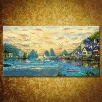 Sea Building City Green Landscape Large Handpainted Modern Wall Painting Oil Painting On Canvas Wall Decor Home Decoration