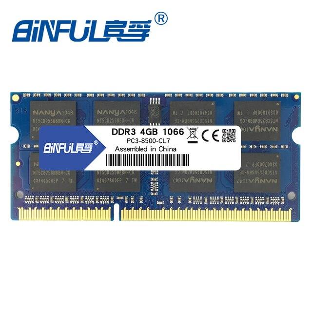 BINFUL PC3-8500 SODIMM DDR3 4 GB 1066 Mhz Memória Ram memoria Para Computador Portátil Notebook 1.5 V 204pin
