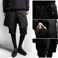 2016 Casual Black slim Pencil Trousers personality Pocket Dance mens harem Hip hop False Third pantskirt Mens Skinny pants
