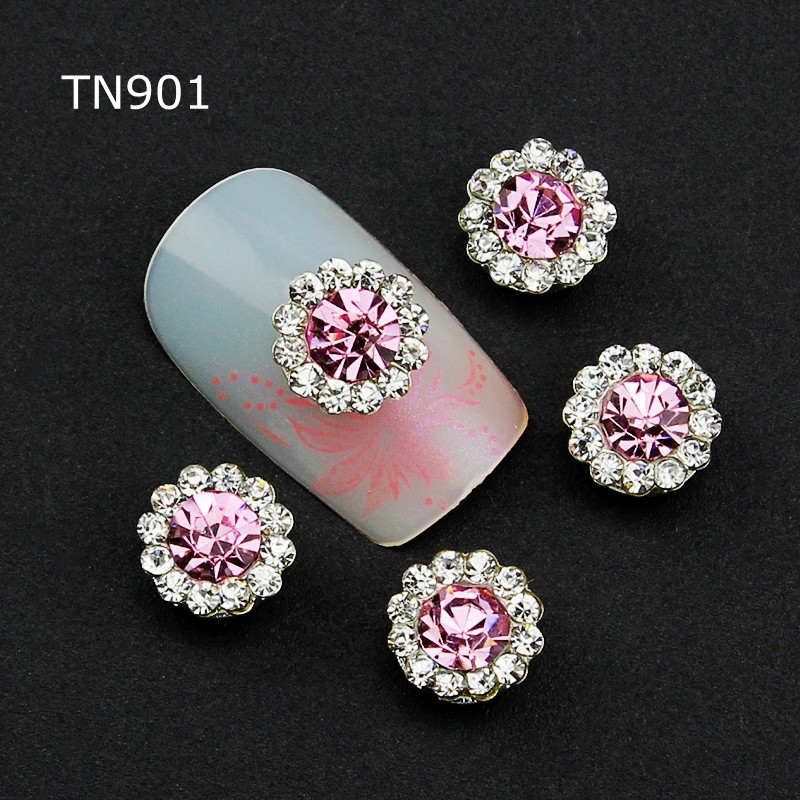 3d Nail Art Decorations 10pcs Pink Alloy Glitter  with Rhinestones ,Alloy Nail Charms,Jewelry on Nails Salon Supplies TN901 Gift 5pcs nail art rings glitter square strass rhinestones nails decorations new arrive 3d nail jewelry nail art bows charms mns743