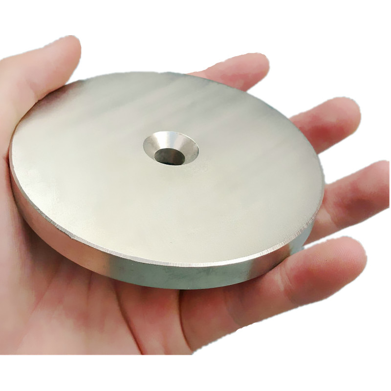 1pc NdFeB N42 Magnet Large Disc OD 100x10 mm with M10 Countersunk Hole 4 round Strong