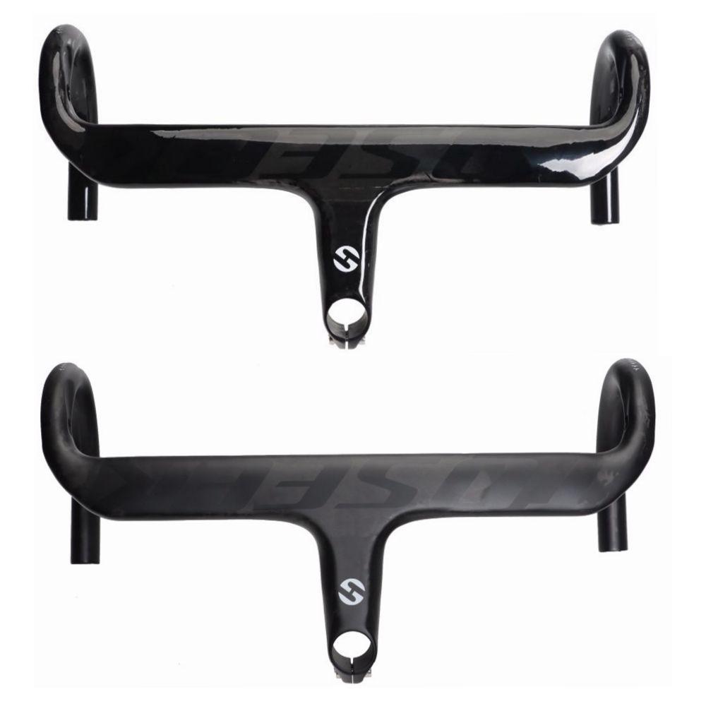 TOSEEK полный углеродного волокна велосипедный руль интегрированный велосипед выноса Велоспорт Бент Бар UD матовый блеск черный логотип