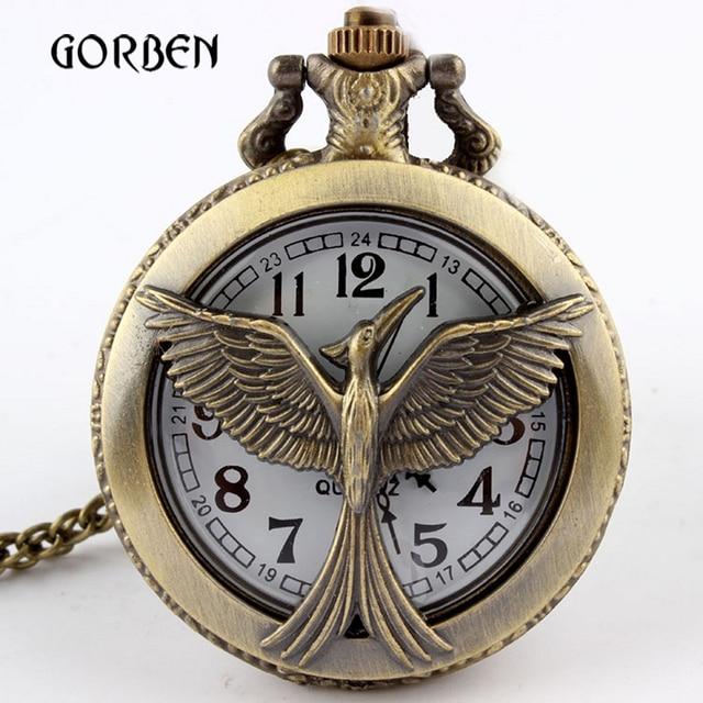 Bronze Retro Hunger Games Pocket Watch Round Dial Arabic Number Vintage Quartz P