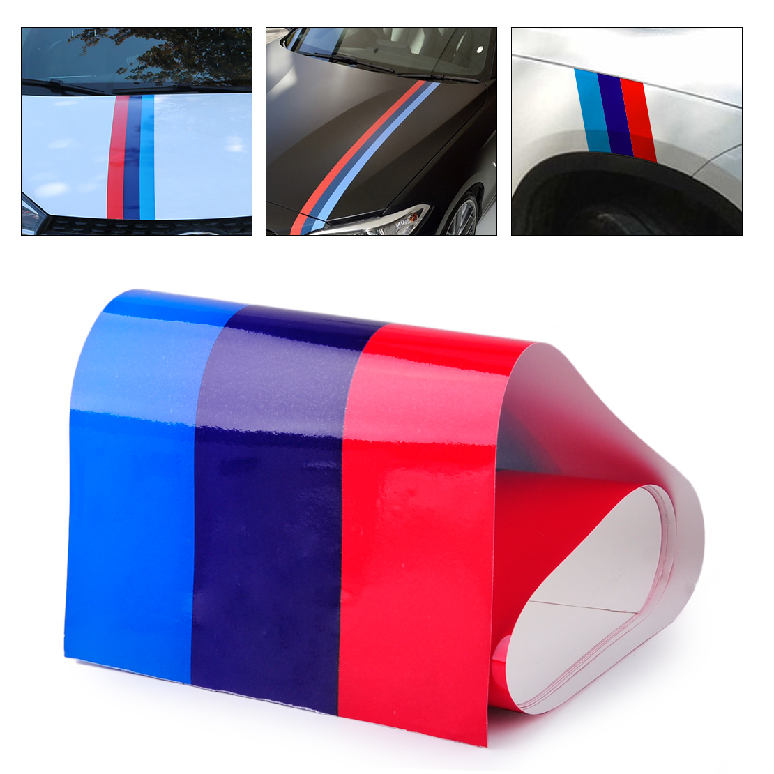 DWCX Car Styling M-Colored Power Flag Stripe Sticker Decal Car Hood Roof Fender 2M Fit for BMW 1 2 3 4 5 7 Series X1 X3 X6 Z1 Z3