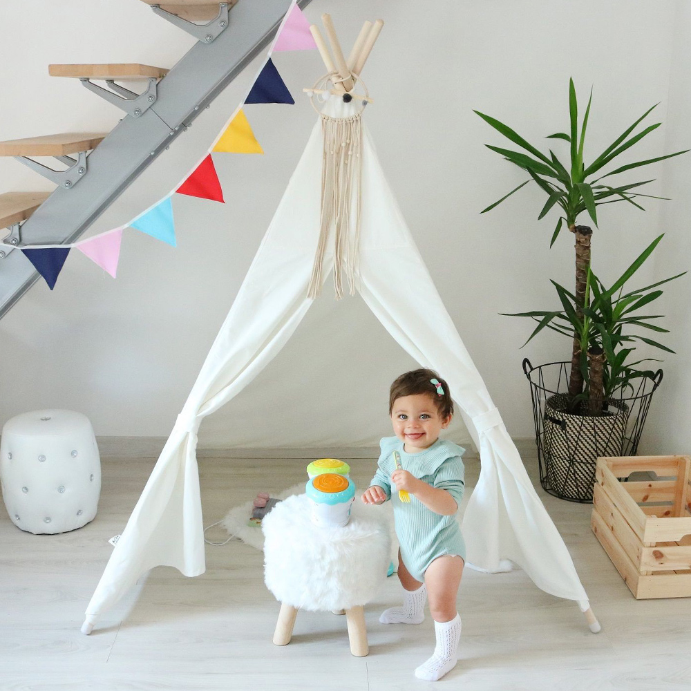 Kids Play Tent Cotton Canvas Indian Teepee Children Play House Baby Room Decoration Tipi Toys For Children Birthday Gift