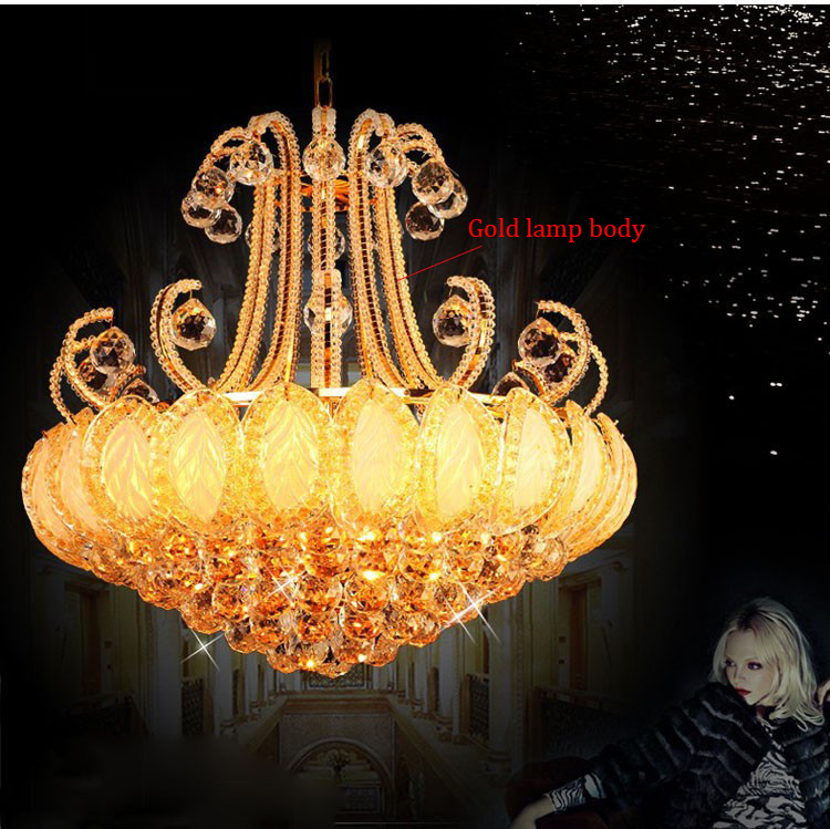 Phube Lighting French Empire Gold Crystal Pendant Light  K9 Crystal Lustre Lighting  Free Shipping