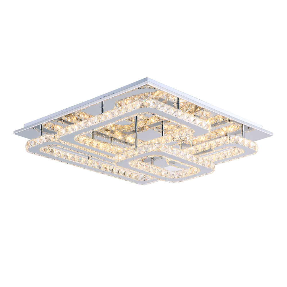 Modern LED Crystal Ceiling Lights Flush Mount Ceiling Lamp 60cm Transparent  K9 Crystal Stainless Steel Flush