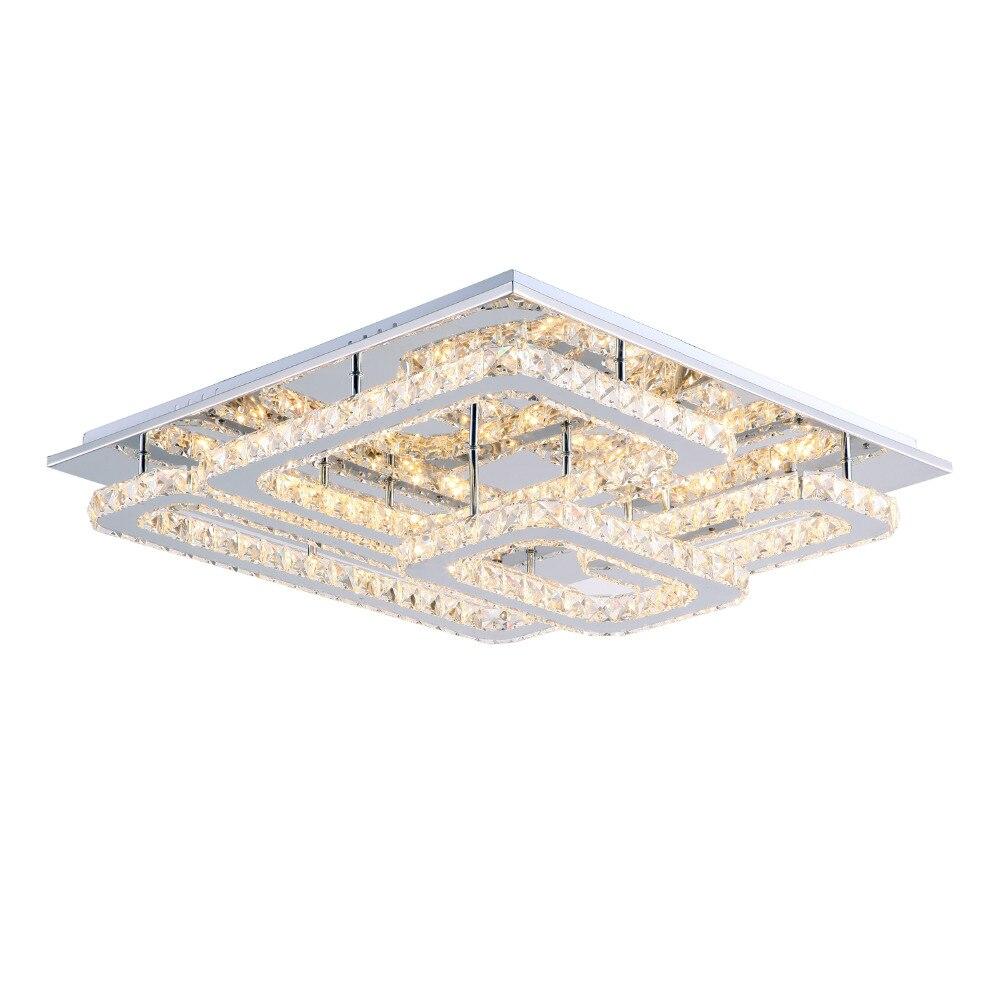 Moderne carré 20CM led 12W K9 cristal plafond surface montage ...
