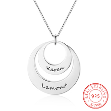 Personalized Round Necklace 925 Sterling Silver Superimposed Hollow Pendants  Engrave 2 Names Anniversary for Women(NE102381) недорого