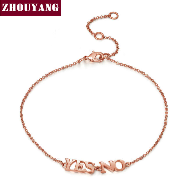Top Quality Yes NO Alphabet Rose Gold Color Bracelet Fashion Jewelry ZYH211
