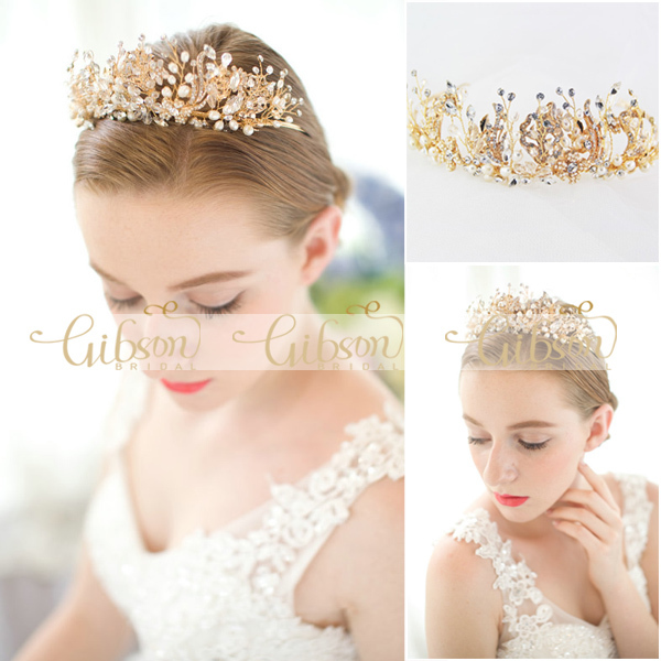 Free Shipping Freshwater Pearl and Gold Color Leaves Crown Wedding Hair Accessories Headband Tiaras 15pcs lot stretch elastic tutu headbands diy headband hair accessories 1 5 inch crochet headband free shipping 33colors in stock
