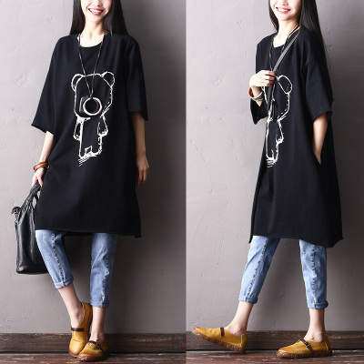 2018 female new spring and summer 100 cotton plus size cartoon casual medium long loose shirt