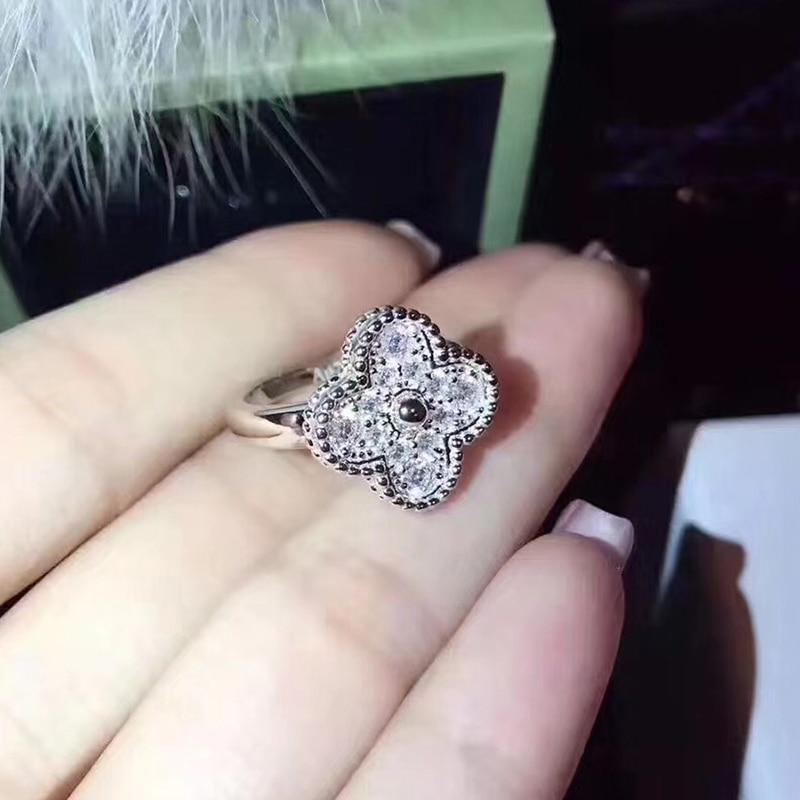цена Brand Fashion Pure 925 Sterling Silver Jewelry For Women Flower Ring Four Leaf Clover Wedding Sakura Full Stone Ring 678#
