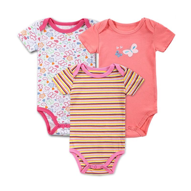 3 Pieceslot Baby Fashion Striped Short Sleeve Rompers Children Jumpsuit Newborn Boys Girls Clothes Body Roupa de Overalls (10)