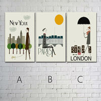 3 Piece Free Shipping Cartoon Characters In Paris Modern Wall Painting Home Decorative Art Picture Paint