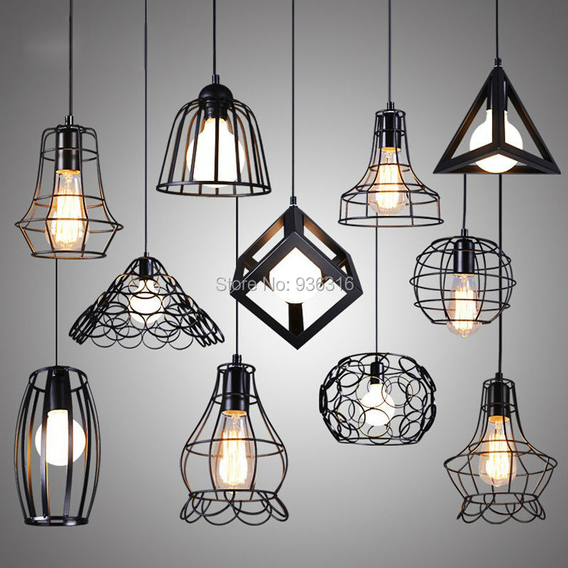 minimalist retro indoor lighting Vintage pendant light LED lights iron cage lampshade for  warehouse coffee room retro indoor lighting vintage pendant light led lights 24 kinds no 25 no 48 iron cage lampshade warehouse style light fixture