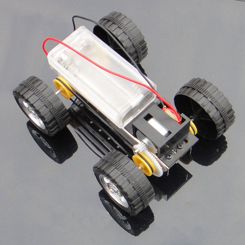 F17924 Self assembly DIY Mini Battery Powered Metal Car Model Kit 12 8cm 4WD Smart Robot
