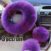 New 3pcs Arrivals Purple Girls Wheel Cover Steering Wheel Car Soft Winter Winter Indoor Auto font