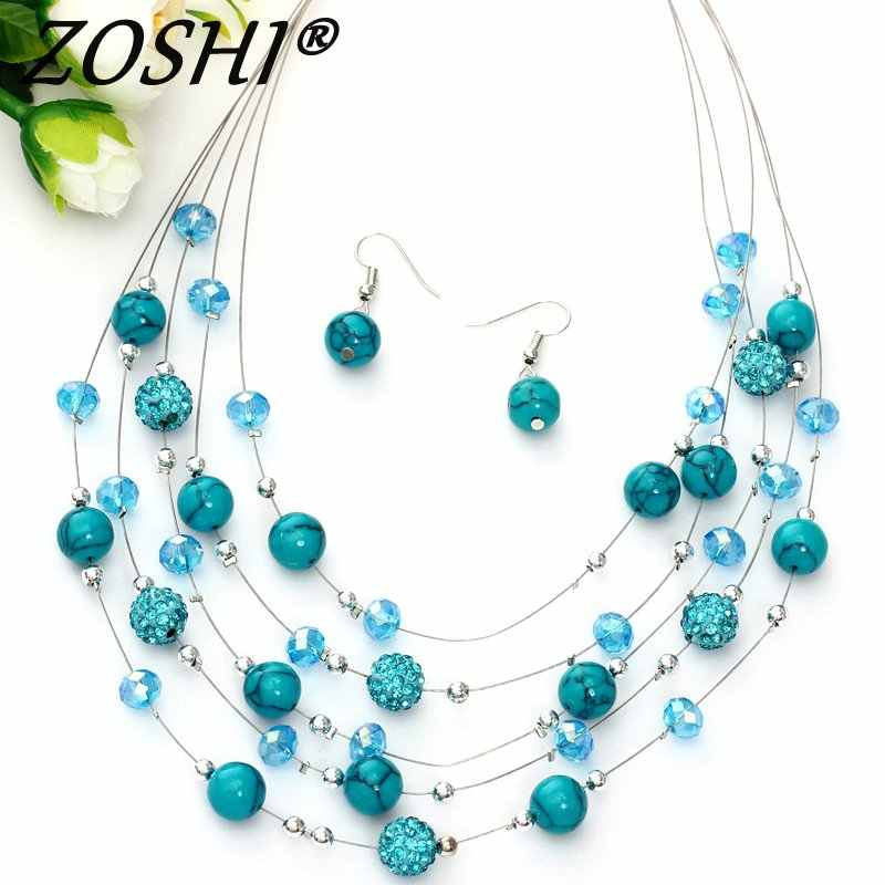 Fashion Jewelry Sets Women Joker Bohemian Crystal Silver Multilayer Coral Stone Beads Statement Chocker Necklace Earrings Set