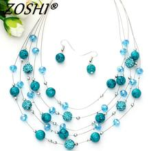 Fashion Jewelry Sets Women Joker Bohemian Crystal Silver Multilayer Coral Stone Beads Statement Chocker Necklace Earrings Set(China)