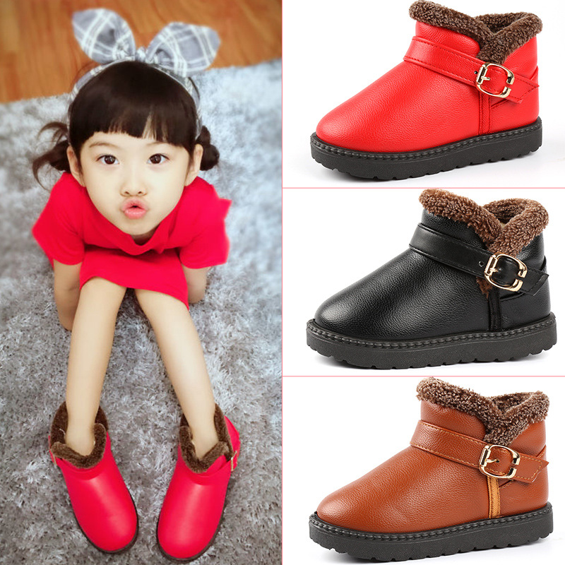 ChanJoyCC Winter Kids Fashion Snow Boots Warm Baby Boys And Girls Shoes Non-slip Cotton Thick Buckle Strap Shoes For Children ...