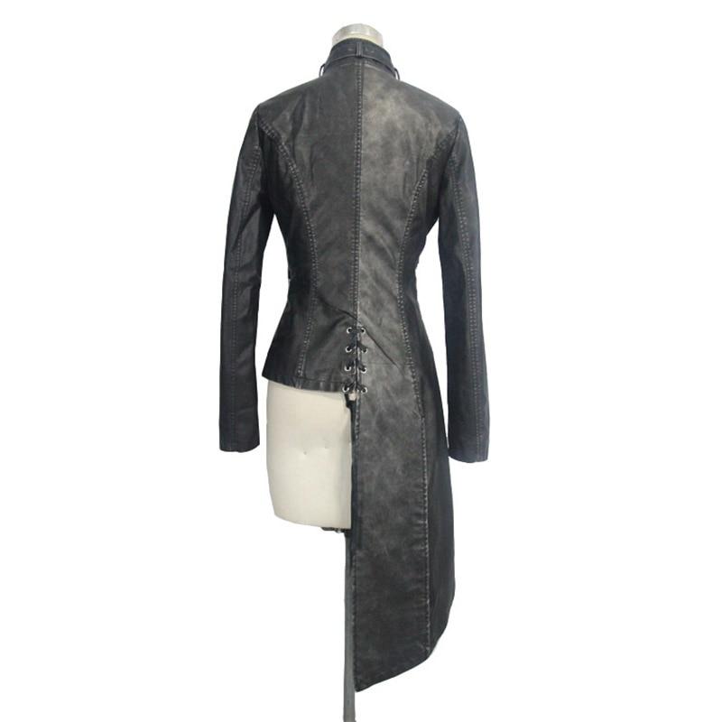 Devil Fashion Heavy Punk seksi asimetrične jakne od umjetne kože za - Ženska odjeća - Foto 6