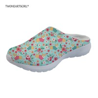 Twoheartsgirl Cute Floral Corgi Dog Slippers for Women Pretty Ladies Flats Home Slippers Breathable Female Sandals Plus