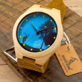 BOBO BIRD Dream Pop Blue face Wood Wristwatches Men's Fashion Brand Designer Bamboo Wooden Watches With Box Free shipping