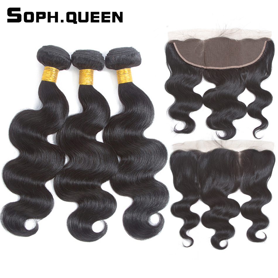 Soph dronning Human Hair Body Wave 3 Bunter Med Closure Lace Frontal - Menneskelig hår (for svart)