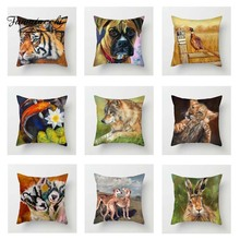 Fuwatacchi Oil Painting Animals Cushion Cover Tiger Wolf Rabbit Pillow for Sofa Car Decor Pillowcases Square 450mm*450mm