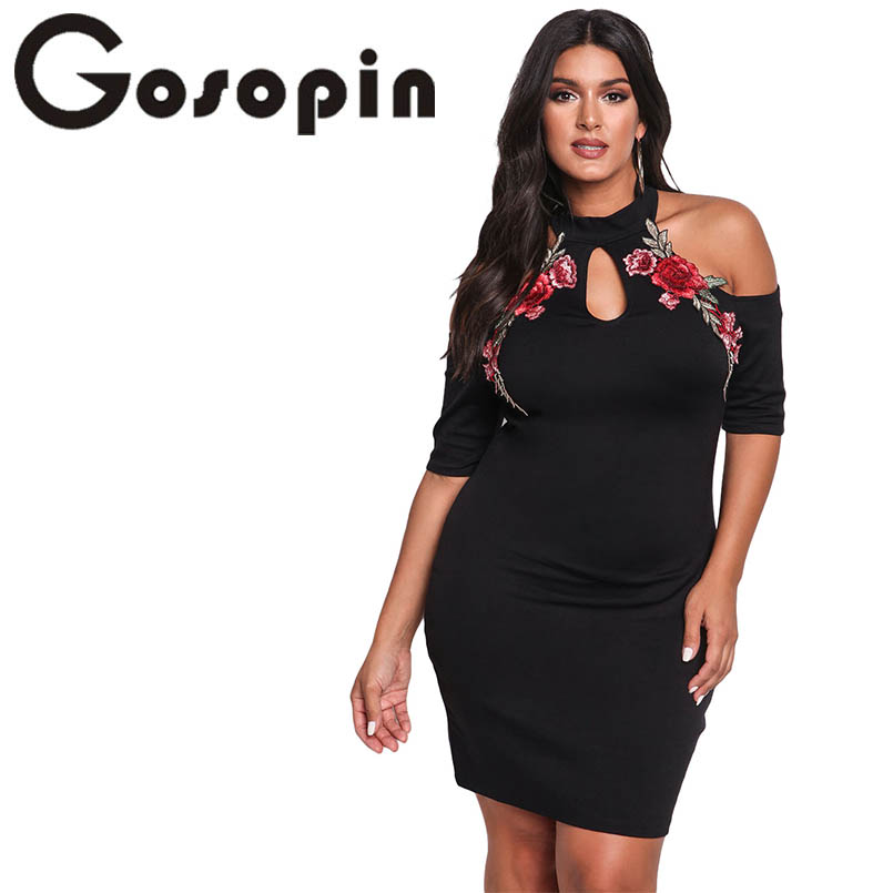 Gosopin Rose Applique Embroidery Flower Plus Size Dress XXXL Black Cold Shoulder Bodycon Large Sexy Nightclub Dresses LC220129