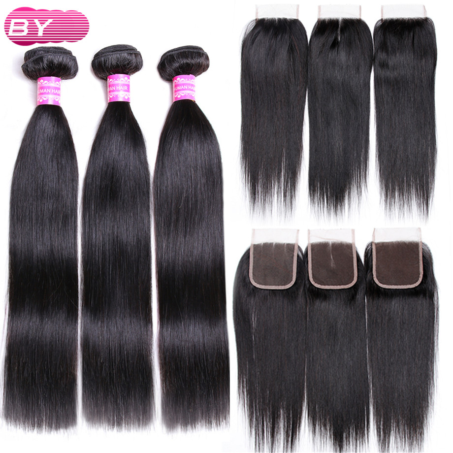 BY Indian Straight Human Hair 3 4 Bundles With 4x4 Lace Closure Non Remy Hair Bundles