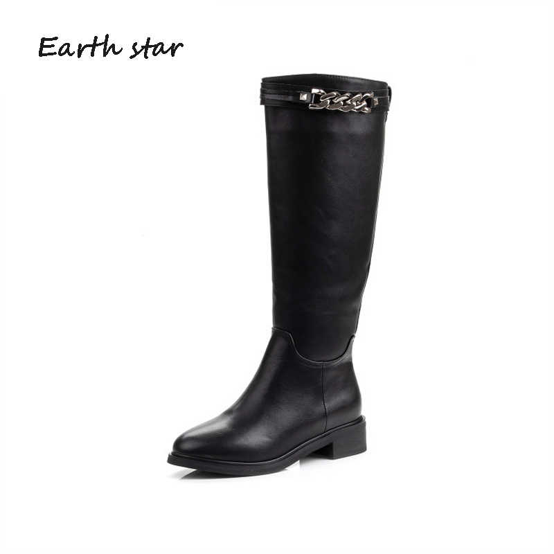 botas mujer 2019 Shoes Women Long Boots High Top Metal Chain Patent Leather White Boots Knee-High bota feminina Black Boots