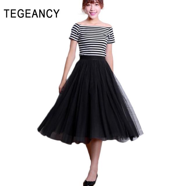 TEGEANCY Female Summer Ball Gown Skirt voile big swing maxi skirts ...