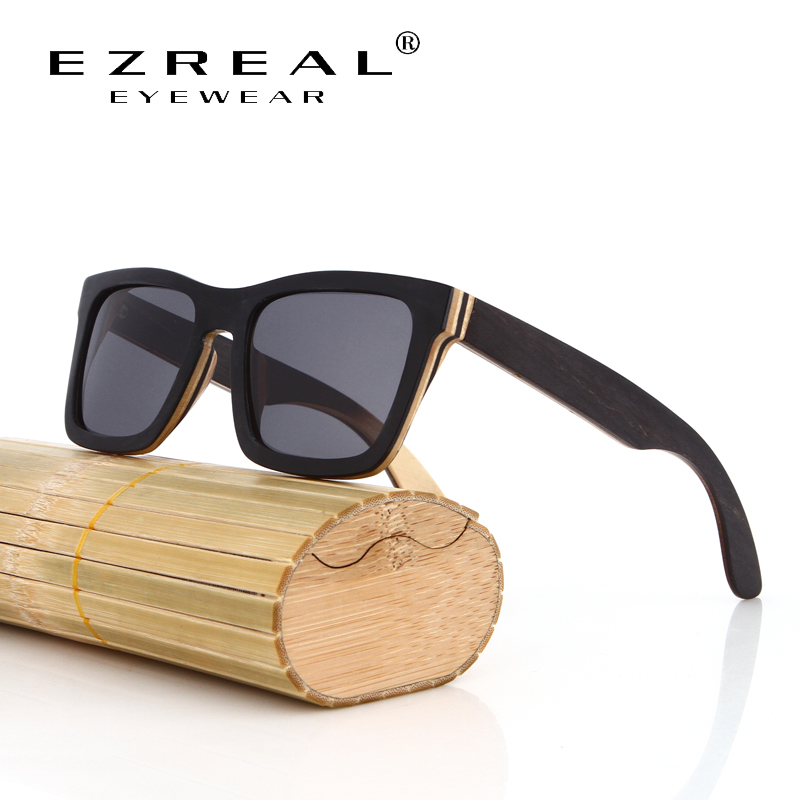 EZREAL TOP Black Wooden Sunglasses Handm