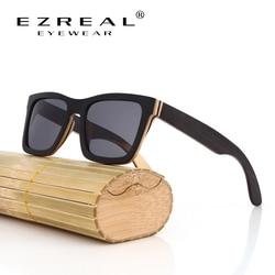 EZREAL TOP Black Wooden Sunglasses Handmade Natural Skateboard Wooden Sunglasses Men Women Wooden polarized sunglasses