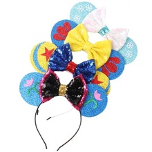 New star flower Rose Gold hair Sequins Mickey Minnie Mouse Ears solid black headband boy birthday party celebration